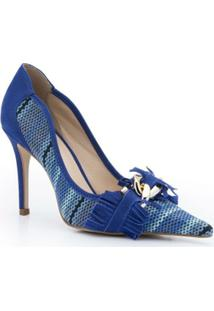 Scarpin Bico Fino Tramado Azul Isorella - Feminino-Azul