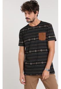 Camiseta Masculina Estampada Étnica Com Bolso Manga Curta Gola Careca Preta