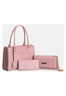 Kit 2 Bolsas Femininas Bolsa Grande + Bolsa Clutch + Carteira Rosa
