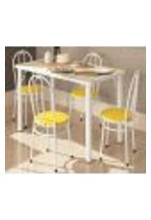 Conjunto Mesa Retangular Com 04 Cadeiras Roma 900 Narita Branca Amarelo Bona Vita