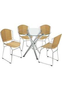 Conjunto De Mesa Com 4 Cadeiras Erika Junco Sintético Cromado - Única