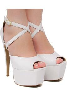 Sandália Zariff Shoes Meia Pata Verniz - Feminino-Branco