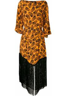 Eva Vestido Midi Arara Estampado - Laranja