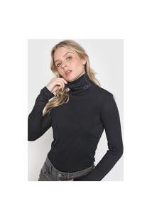 Blusa Calvin Klein Jeans Gola Rolê Preta