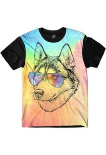 Camiseta Bsc Animais Hipster Husky Masculina - Masculino-Rosa