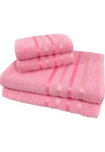 Jogo De Toalha 4 Peã§As Kit De Toalhas 2 Banho 2 Rosto Jogo De Banho Rosa - Rosa - Dafiti