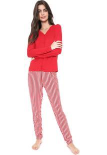 Pijama Bela Notte Listrado Vermelho/Branco