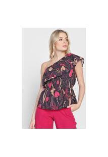 Blusa Colcci Folhagem Ombro Único Preta/Rosa