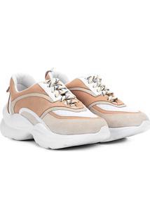 Tênis Chunky Capodarte Sneaker Feminino - Feminino-Bege+Branco