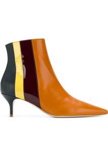 Delpozo Ankle Boot 'Socrate' De Couro - Laranja
