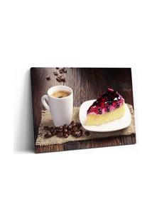 Quadro 60X90Cm Gastronomia Torta E Café Restaurante Em Canvas