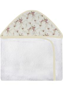 Toalha De Banho C/ Capuz Estampado Laura Baby - Floral Ferrugem