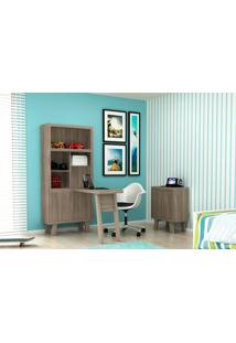 Home Office 2 Peças Tecno Mobili: 1 Armário Com Escrivaninha E 1 Balcão - Carvalho/Fendi - Multistock