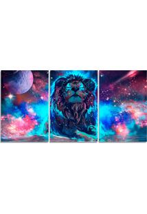 Quadro Decorativo Para Sala Leã£O Colorido Estrelas - Multicolorido - Dafiti