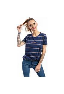 Camiseta Manga Curta Listrada Enjoy Woman Marinho