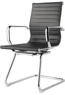 Cadeira Sevilha Eames Fixa Cromada Pu Preto - 31112 - Sun House