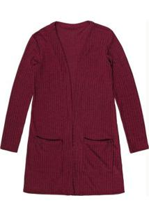 Cardigan Alongado Bordo