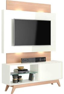Rack Com Painel 55 Polegadas Com Led Renoir Ii Off White E Natural 140 Cm