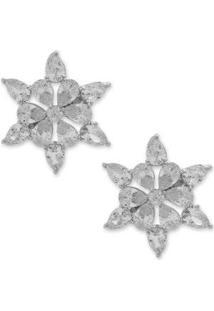 Brinco Estrela Cravejado Com Zircônias - Feminino-Prata