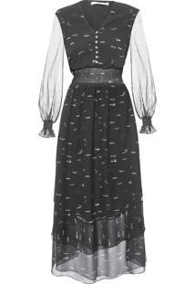 Vestido Isa Longo Seda - Preto