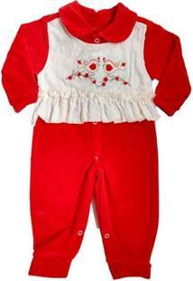 Macacão Bebê Piftpaft Plush Enxoval Inverno Feminino - Feminino-Vermelho