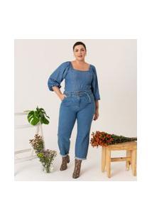 Calça Slouchy Jean Lisa Com Cinto Curve & Plus Size | Ashua Curve E Plus Size | Azul | 52