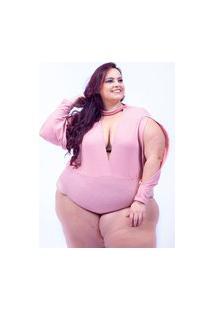 Body Anitta Manga Longa Canelado Rosa