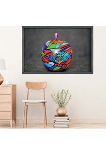Quadro Com Moldura Colored Apple Grafitti Metalizado - Médio