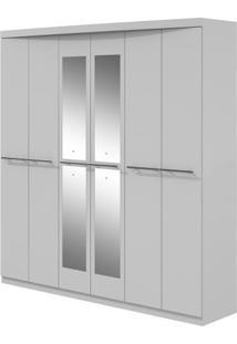 Guarda-Roupa Qualitá Com Espelho - 6 Portas - Branco