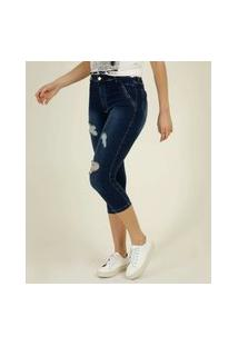 Calça Jeans Feminina Destroyed Capri