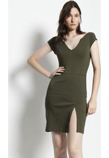 Vestido Com Fenda - Verde Militar- Moiselemoisele