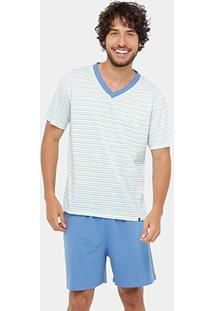 52a02358b ... Pijama Curto Lupo Algodão Listrado - Masculino