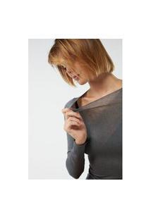 Blusa Modal Cashmere Ultralight Decote Canoa - Cinza G