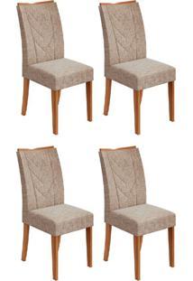Conjunto Com 4 Cadeiras Atacama Ll Rovere E Bege