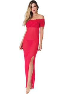 Camisola Diário Íntimo Rendada Longa Luxo - Feminino-Vermelho