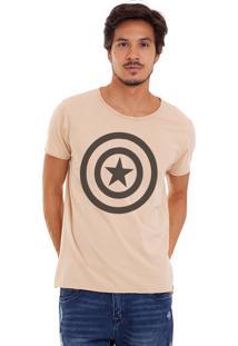 Camiseta Joss Estonada Corte À Fio Capitão América Areia