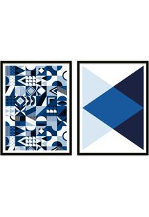 Quadro Oppen House 67X100Cm Formas Geométricas Liberté Azul Moldura Preta Com Vidro