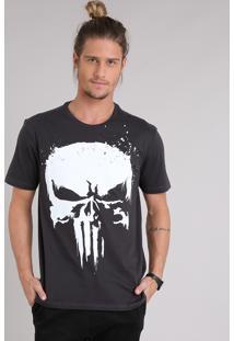 Camiseta Masculina Justiceiro Manga Curta Gola Careca Chumbo