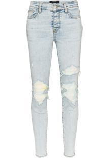 Amiri Calça Jeans Skinny Tie-Dye Com Patch No Joelho - Azul