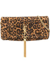 Saint Laurent Animal Print Shoulder Bag - Marrom