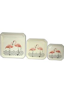 Jogo De Pratos Flamingos- Off White & Salmã£O- 3Pã§Sbtc Decor