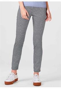 Calça Super Skinny Estampada Feminina - Feminino-Cinza