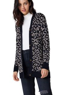 Cardigan Tricot Leopardo