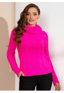 Blusa Pink Em Tricot Com Gola Alta