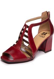 Sandália Vermelha Em Couro - Amora / Chocolate 5972 Mzq - Kanui