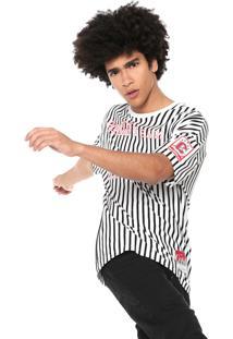 Camiseta Coca-Cola Jeans Listras Branca/Preto