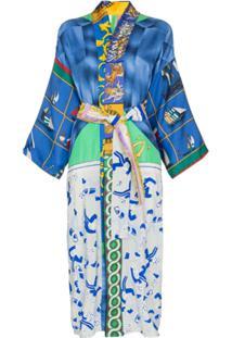 Rianna + Nina Kimono Com Mix De Estampas - Estampado