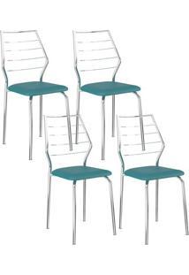 Cadeira 1716 Cromada 04 Unidades Turquesa Carraro