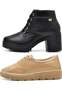 Kit Bota Coturno Ousy Shoes Mais Tênis Casual Preto