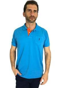 Camisa Polo Mister Fish Slim Sea Horse Com Bolso Masculina - Masculino-Azul Turquesa